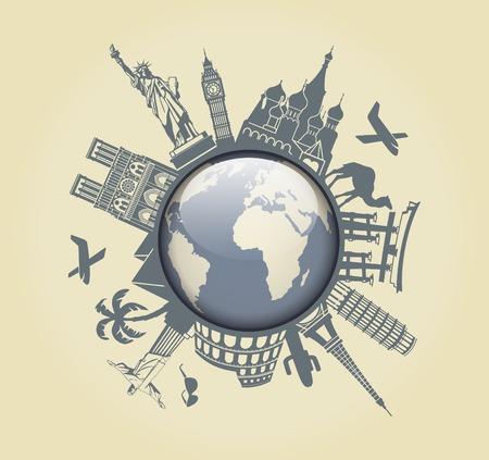 旅行の象徴  イラスト・ベクター素材