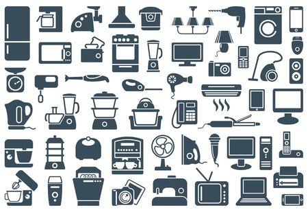 secador de pelo: aparatos por hogares iconos