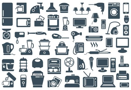 electric iron: ousehold appliances icons