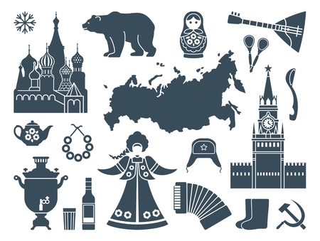 russian  russia: Russian icons Illustration