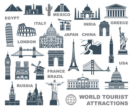 Ikony atrakcji turystycznych świata Ilustracje wektorowe