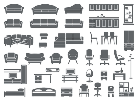 domestic kitchen: furniture icon set Illustration