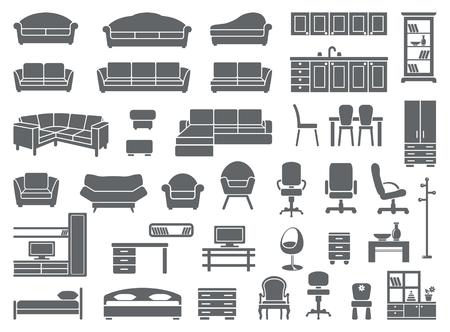 letti: set di icone di mobili  Vettoriali