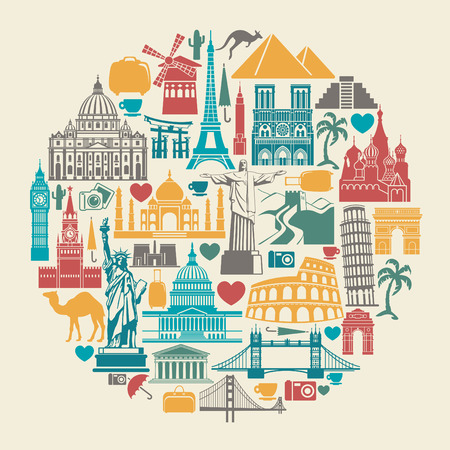 Icon architectural monuments of the world in the shape of a circle