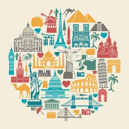 Icono monumentos arquitectónicos del mundo en la forma de un círculo