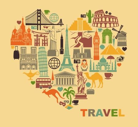 voyage vintage: Icône monuments architecturaux du monde sous la forme d'un coeur Illustration