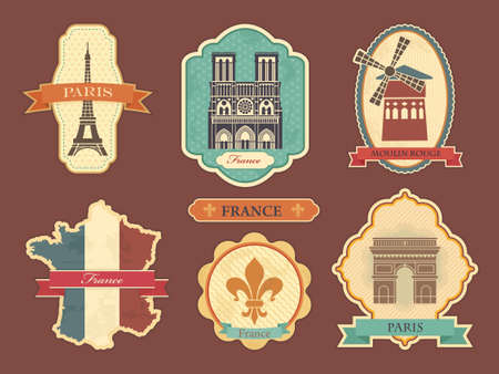 flag france: Travel labels with symbols of France and Paris Illustration