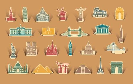 monumento: Iconos de lugares de interés arquitectónico del mundo sobre las pegatinas