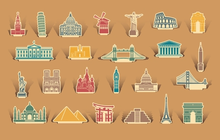 Icons of architectural sights of the world on the stickers Illustration