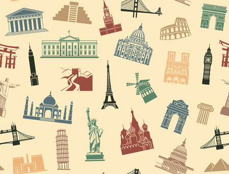 attractions: Seamless background tourist attractions