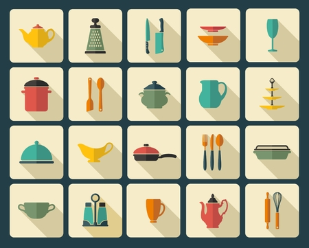 kitchen ware: Icons of kitchen ware and utensils