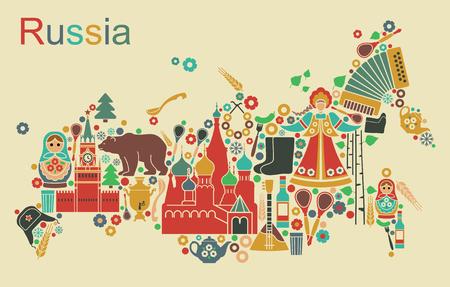Russische iconen in de vorm van kaarten van Rusland Vector Illustratie
