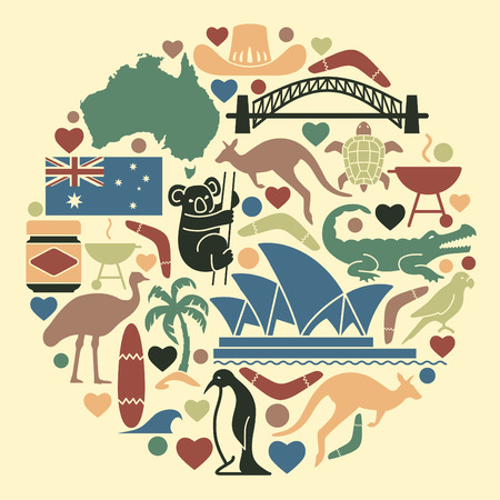 australian ethnicity: Australian icons in the form of a circle