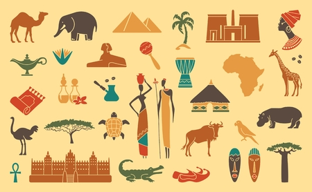 african tribe: Africa jungle ethnic culture travel icons set