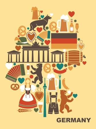 Iconos de Alemania en la forma de un mapa. Ilustración de vector