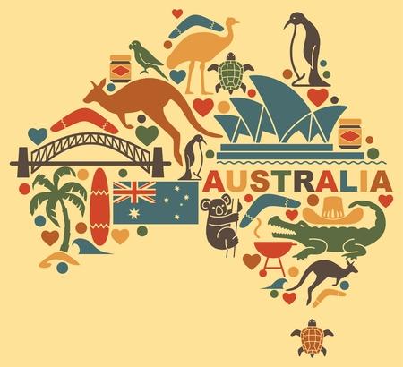 simboli tradizionali della cultura australiana e della natura, sotto forma di una mappa