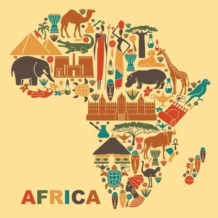 Símbolos de la naturaleza, la cultura y la arquitectura de África en la forma de un mapa