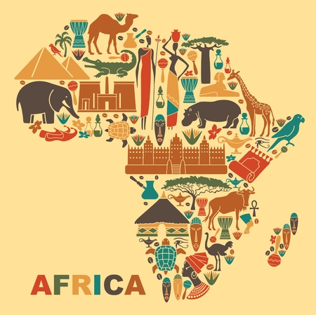 Symbols of nature, culture and architecture of Africa in the form of a map Stock Illustratie