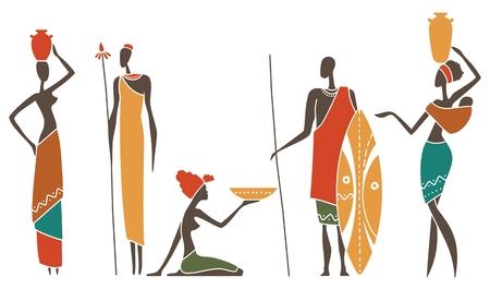 Siluetas de hombres y mujeres africanos ropa intraditional