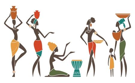 siluetas de mujeres: Siluetas de las mujeres africanas en trajes étnicos