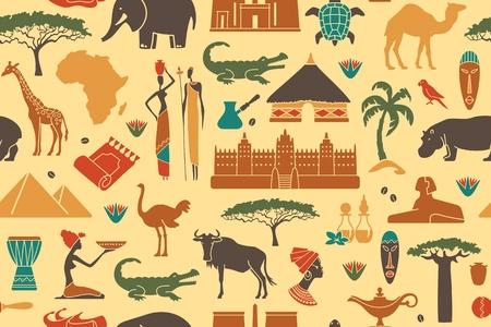 Fondo transparente con símbolos tradicionales de África