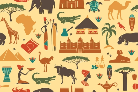 Naadloze achtergrond met de traditionele symbolen van Afrika