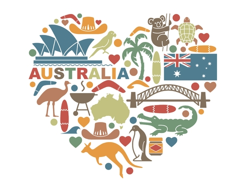 Traditional symbols of nature and culture of Australia in the shape of a heart Vettoriali