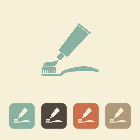 bristles: Symbols of dental care. Toothbrush and toothpaste