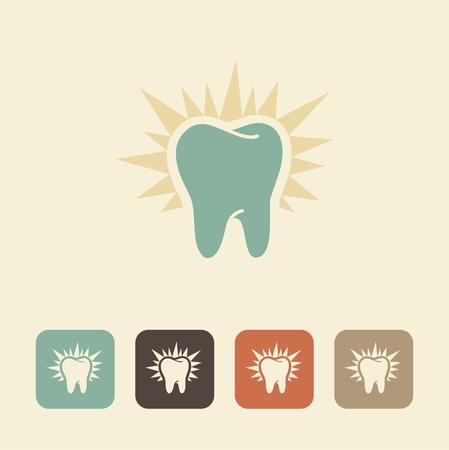 dientes sanos: El símbolo de los dientes sanos. silueta brilla