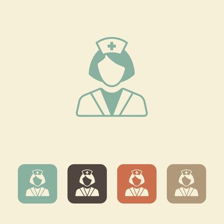 assistance: Health care worker icon. Nurse vector illustration