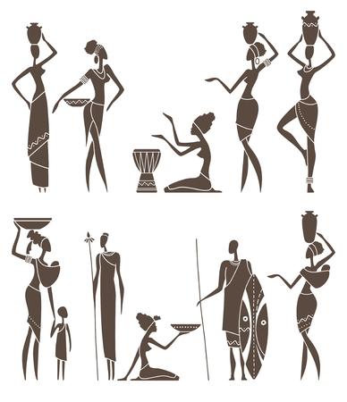 Silhouettes afrykańskich mężczyzn i kobiet intraditional odzież Ilustracje wektorowe