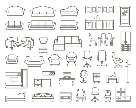 clip arts: Icons of various kinds of furniture for home and office