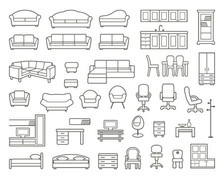 Pictogrammen van de verschillende soorten meubels voor thuis en op kantoor
