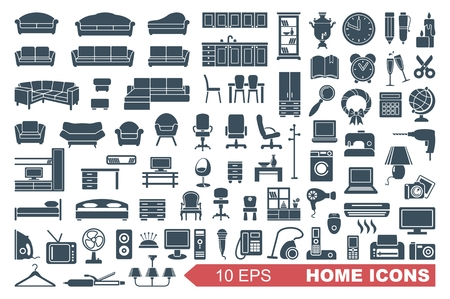 iron fan: Household items. The furniture and appliances. Vector icons Illustration