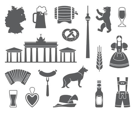De traditionele symbolen van cultuur, architectuur en keuken van Duitsland