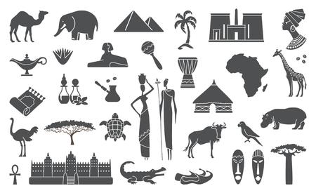 Frica iconos de viajes de cultivo selva étnica establecen Foto de archivo - 56919397