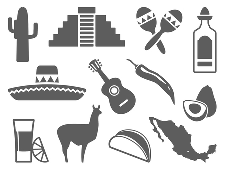 pungent: Traditional symbols of culture, the nature and food of Mexico Illustration