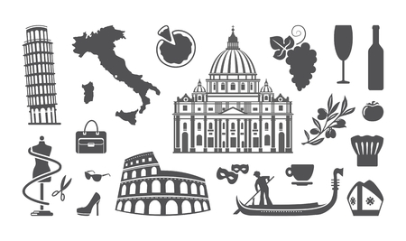 italy culture: Traditional symbols of architecture and culture of Italy