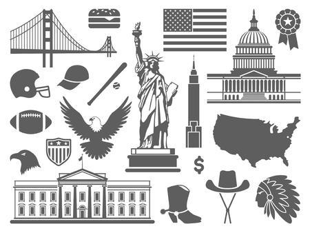 monumento: símbolos tradicionales de la arquitectura y la cultura de los EE.UU. Vectores