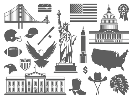 traditional culture: Traditional symbols of architecture and culture of the USA Illustration