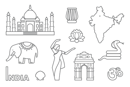 mausoleum: Traditional symbols of India. Simple contour icons