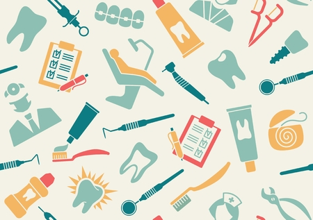 medical supplies: Seamless background about dentistry and dental care Illustration