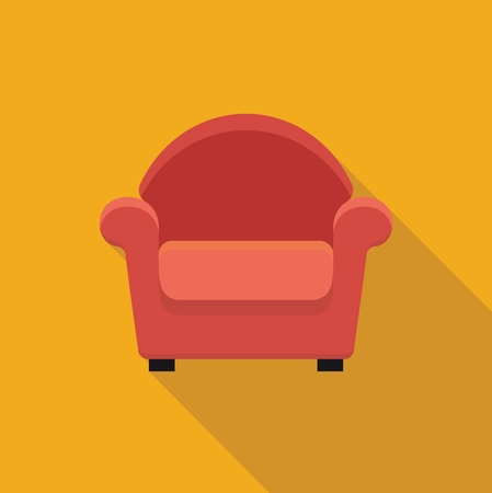 armchair: Stylized flat icon armchair. illustration. Symbol