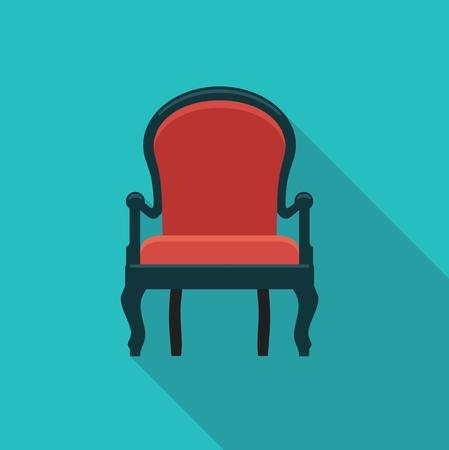 luxury furniture: flat icon antique chairs. Stylized illustration