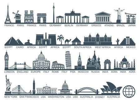 Ikona zabytków architektury i atrakcji turystycznych świata Ilustracje wektorowe