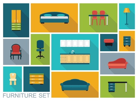 home furniture: Icons of various kinds of furniture for home and office