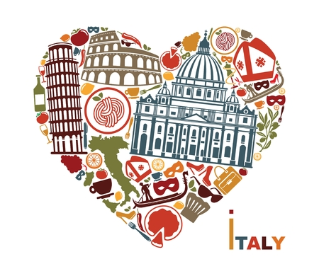 Symbols of culture, architecture and cuisine of Italy in the shape of a heart