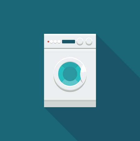 washer machine: Flat icon of washing machine.
