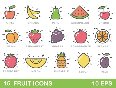 health icons: Color stylized fruit icons. Outlines illustration