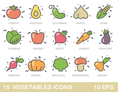 Contour stylized icons of vegetables, mushrooms and avocado